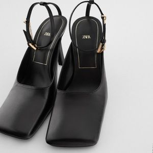 ZARA Leather Square Toe Heels